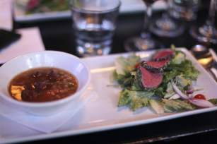 Seared sirloin steak with beef barley soup