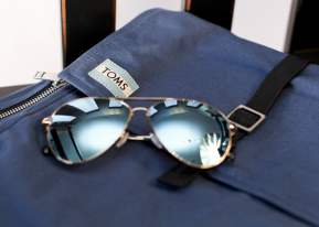 Navy Utility Canvas Trekker Backpack and Maverick 301 Yellow Gold Mirror sunglasses