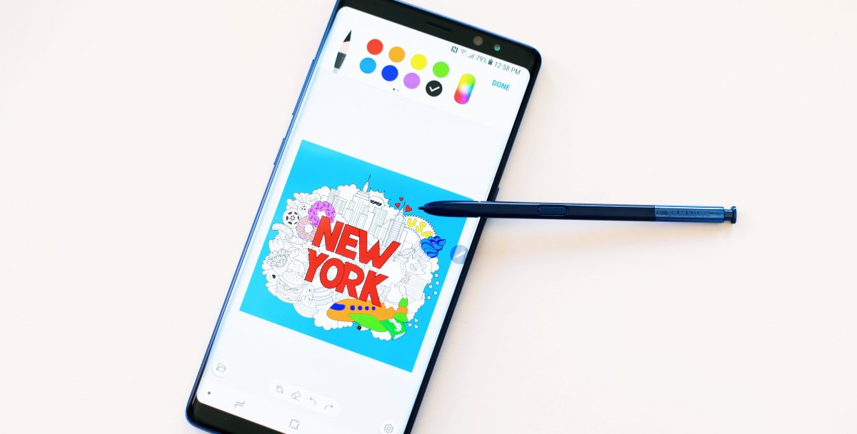 Colouring on the Samsung Galaxy Note 8