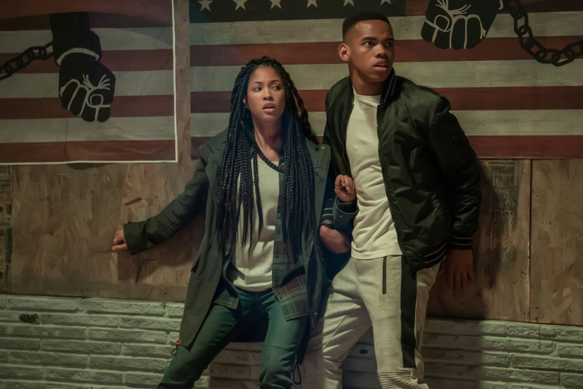 Lex Scott Davis and Joivan Wade in The First Purge