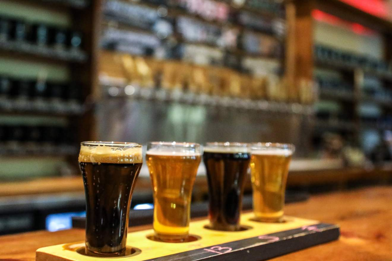 Beer flight at Sawdust City Brewing