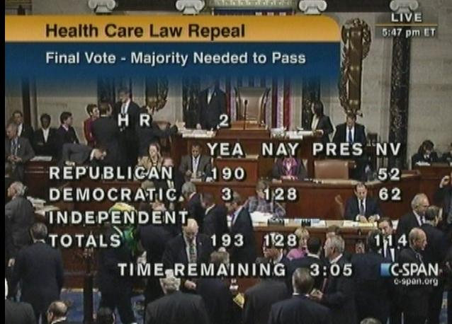 C-SPAN image of the House voting to repeal Obamacare