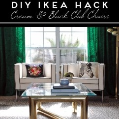 Diy Living Room Chair Cover Blackout Curtains For Ikea Hack Cream And Black Club Chairs The Gathered Home Www Thegatheredhome Com Tutorial