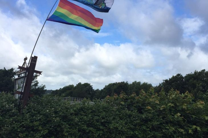 North Wales Pride flies Orlando Flag