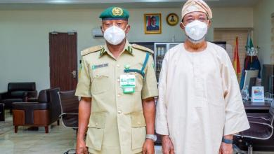 Photo of Aregbesola Receives Acting NCoS CG, Charges Him To Continue Giant Strides Of Predecessor