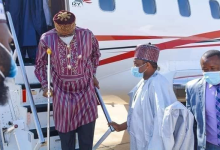 Photo of Injured Amaechi Walks With Crutches