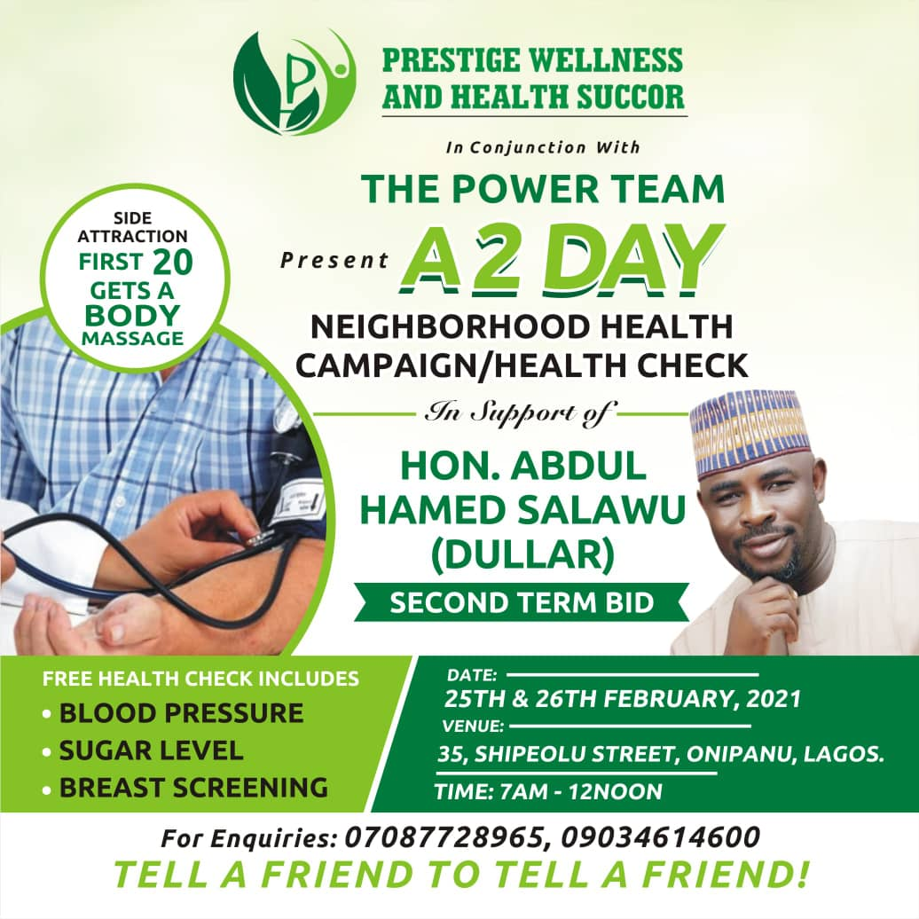 Health & Wellness Firm Drums Support For Dullar's Second Term, Holds 2-day Free Health Support Programme
