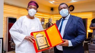 Photo of In Pictures, Aregbesola Hosts Namibian High Commissioner, Humphery D. Geiseb