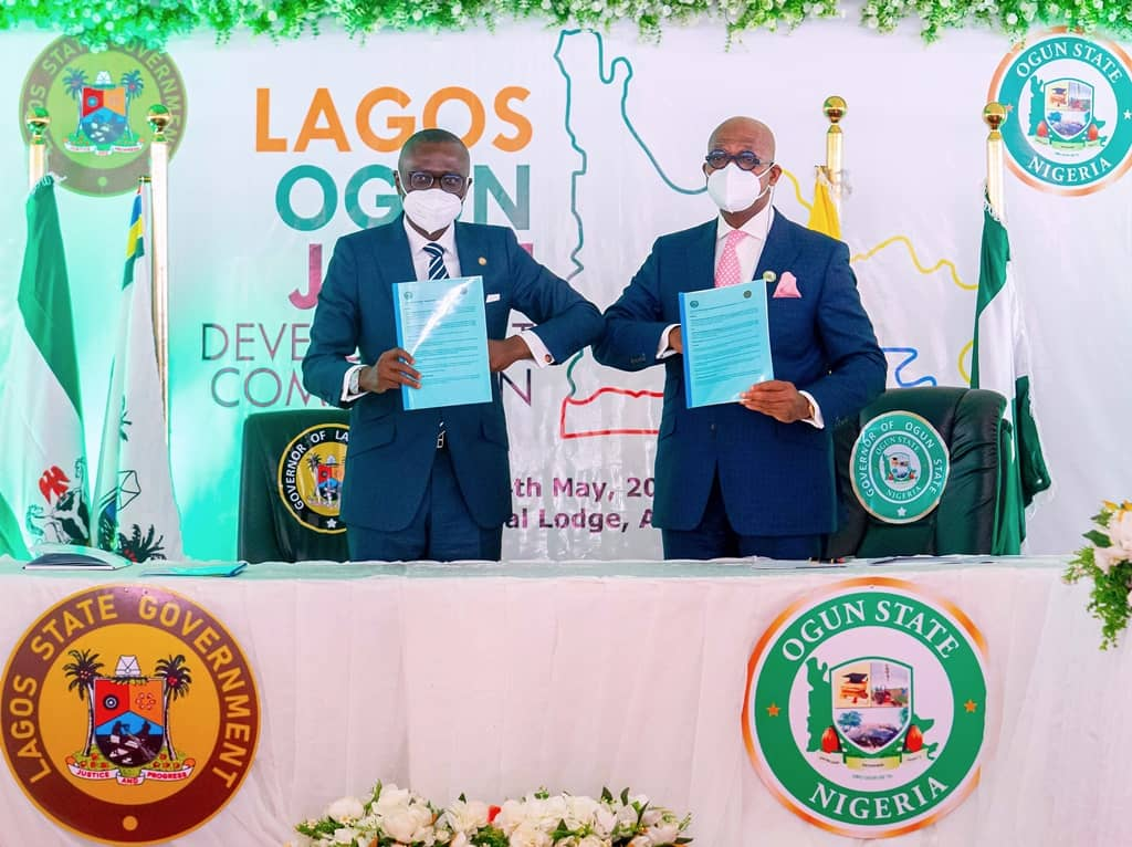 History As Lagos, Ogun Form Joint Development Commission AsSanwo-Olu, Abiodun Sign MoU; To Transmit Bills To Houses Of Assembly
