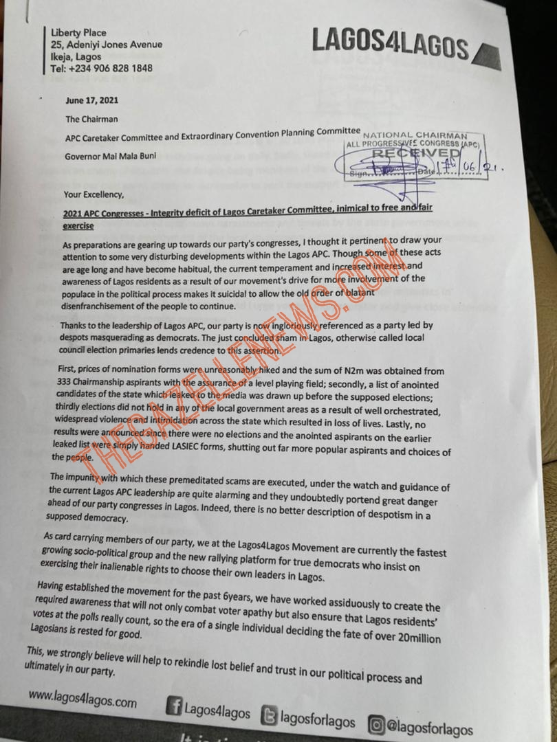 Exclusive: Lagos4Lagos Writes APC National Body, Expresses Readiness For Congresses, Says Lagos LG Primary Was A Sham + Full Letter