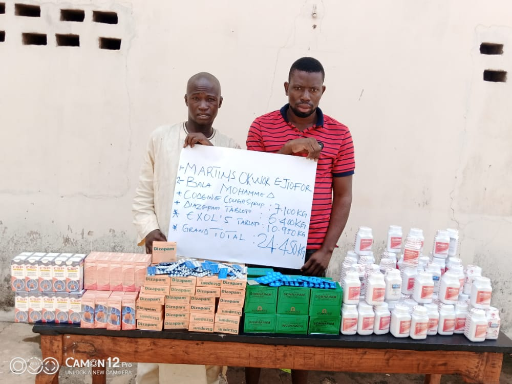NDLEA Cuts Drug Supply To Niger Bandits; Arrests Suppliers With 24kg Diazepam, Codeine; Nabs Man With 38kg Cocaine, Heroin