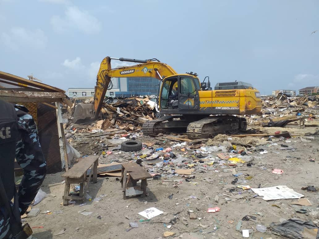 Lagos Demolishes Shanties On Lekki Coastal Road