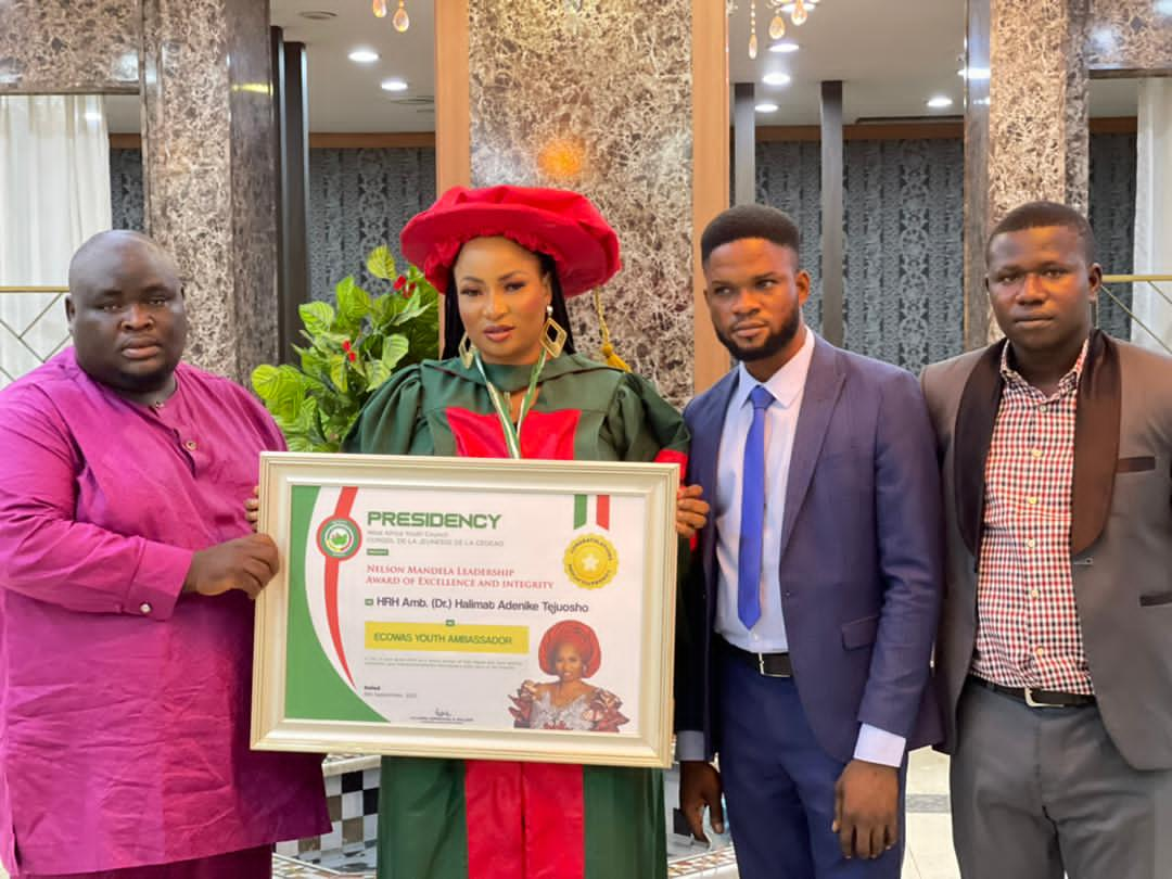 West Africa Youth Council Honours Halimat Adenike Tejuoso As ECOWAS Youth Ambassador
