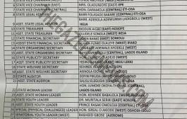 Breaking! Lagos APC Exco Released Ahead Of Congress; Ojelabi Is Chairman, Sumi/Sec, Oladejo/Pub Sec, Adewale/Org Sec + Full List