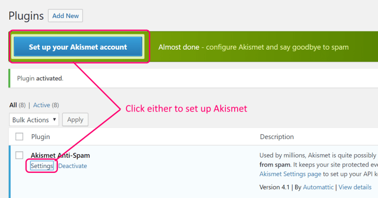 wordpress activate akismet anti-spam plugin step 2