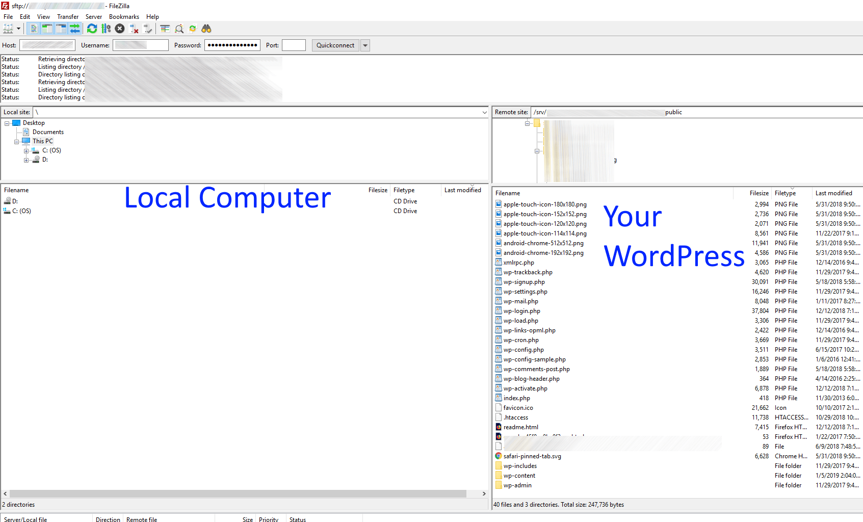 How to use the free Filezilla to securely connect to