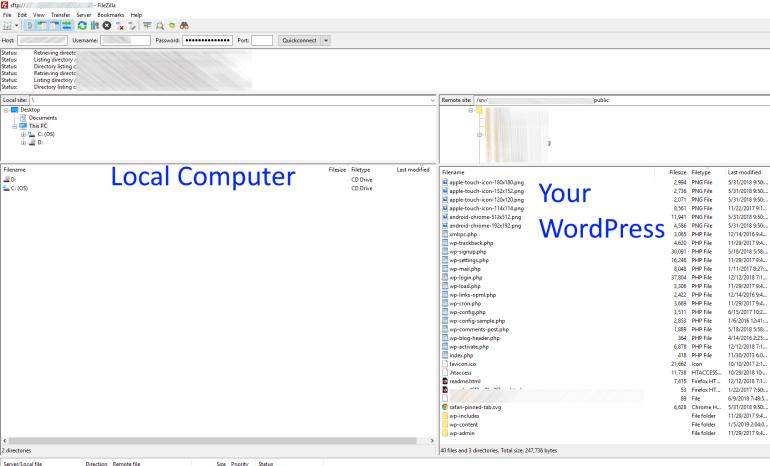 filezilla successful connection to wordpress site screenshot