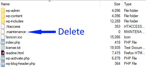 wordpress fix maintenance mode error delete file