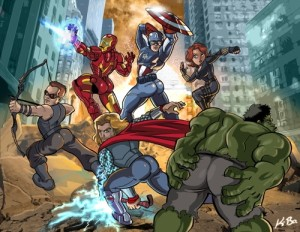 """""""Avengers Booty Ass-emble"""" by Kevin Bolk"""