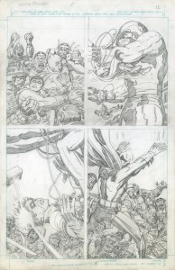 This is the original pencil art by Jack Kirby for Super Powers #5, page 12, featuring Batman and Robin, which was published by DC in 1986.