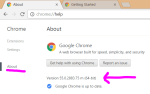 The Chrome Settings web page