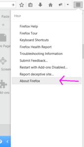 The Firefox Help menu