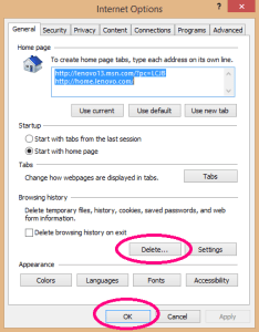 IE Internet Options window