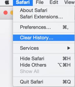 Safari > Clear History