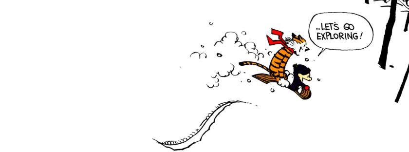 Calvin and Hobbes sledding