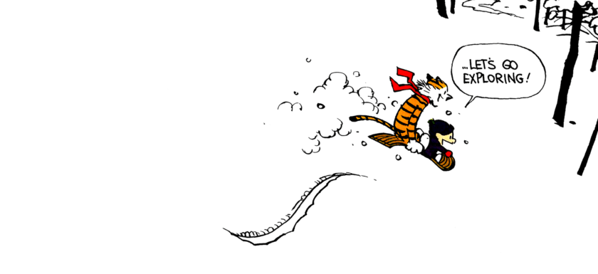 Calvin and Hobbes sledding