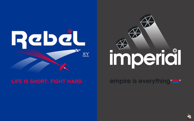 Brand Wars Rebel and Imperial logos