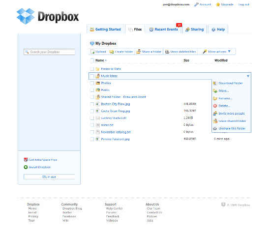 Access Dropbox files using Browser