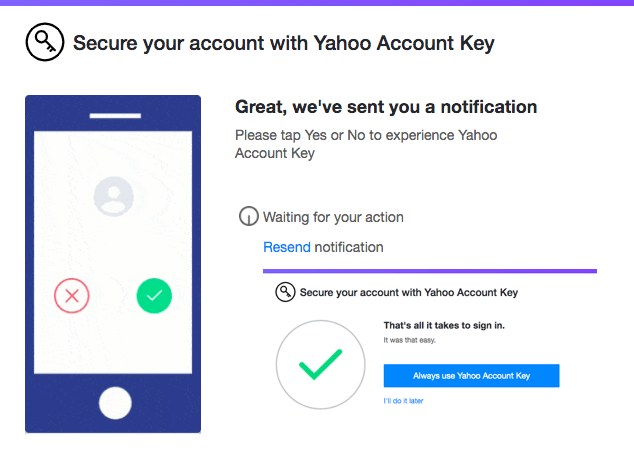 Yahoo Account Key Setup from Mobile