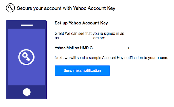 Setup Yahoo Account Key