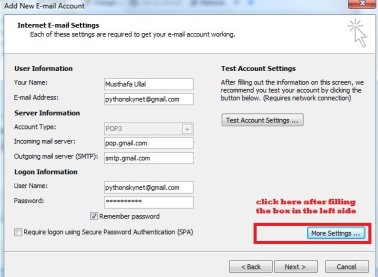 adding gmail pop and smtp address in outlook