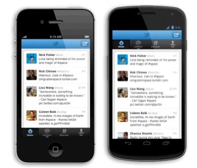 Twitter for Android and iPhone