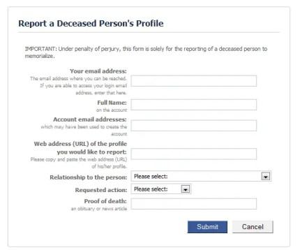 Facebook user report - deceased