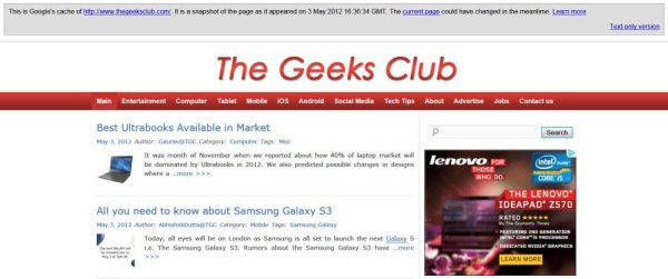 The Geeks Club Cache