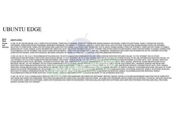 Ubuntu Edge trademark filing