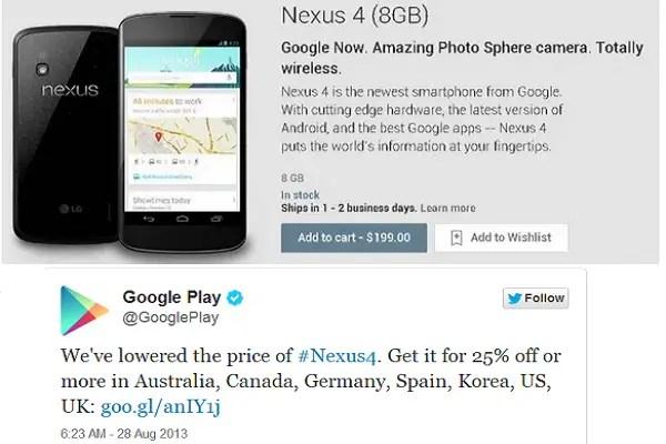 Nexus 4 price drop, new Nexus 7 on sale in UK, Germany ...