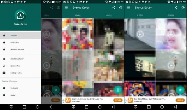 Save WhatsApp status images and video using Third Party Apps