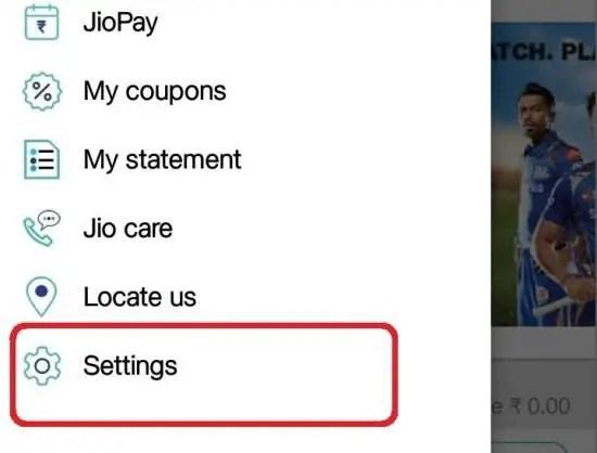 MyJio settings