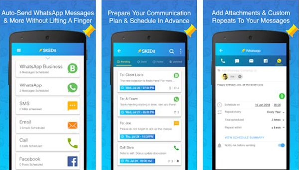 SKEDit  schedule messages to send texts automatically from Android