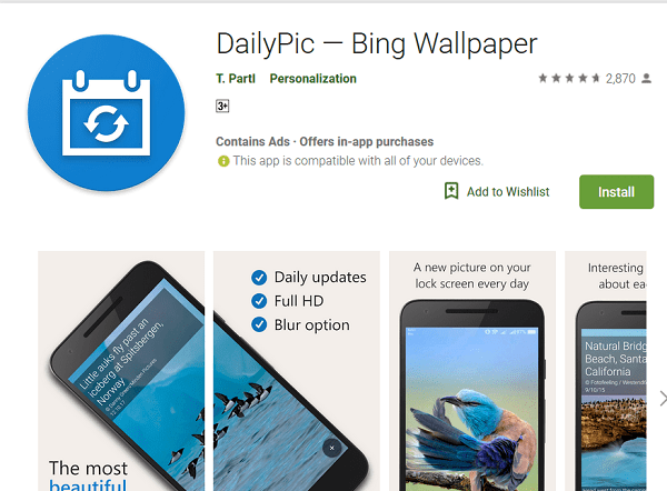 Set Daily Bing Picture as Wallpaper on Android using DailyPic App