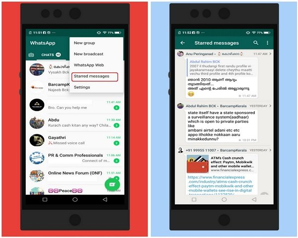 Steps to star messages in WhatsApp