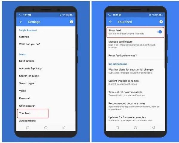 Google feed settings