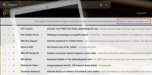 Spam Folder in Gmail free up storage space from Gmail Account