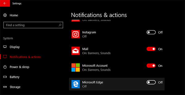 Edge: Stop websites from asking to show notifications