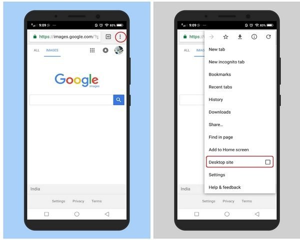 Use Desktop mode in Chrome to reverse search images on Android