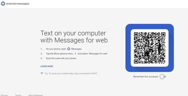 enable and use Android Messages on browser